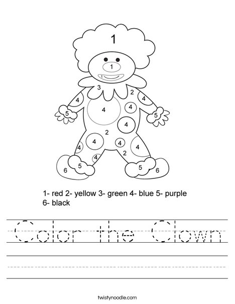 Color by Number Clown Worksheet