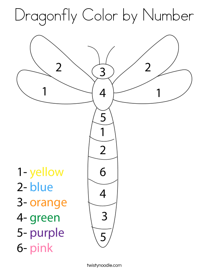 Dragonfly Color by Number Coloring Page