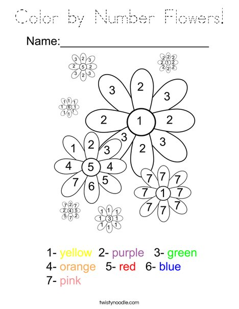 Color by Number Flowers Coloring Page