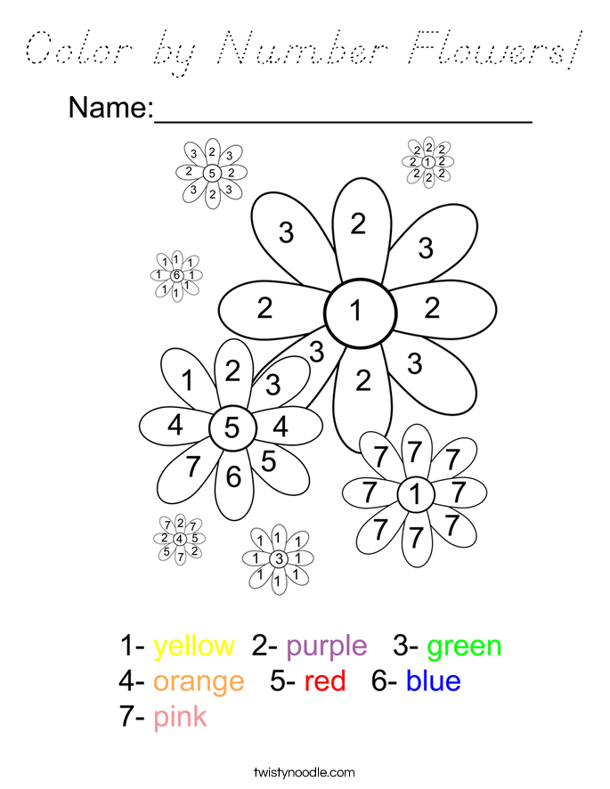Color by Number Flowers! Coloring Page