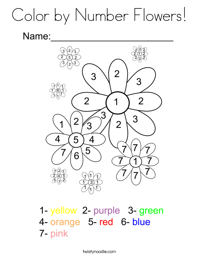 Color By Number Flowers Coloring Page Twisty Noodle
