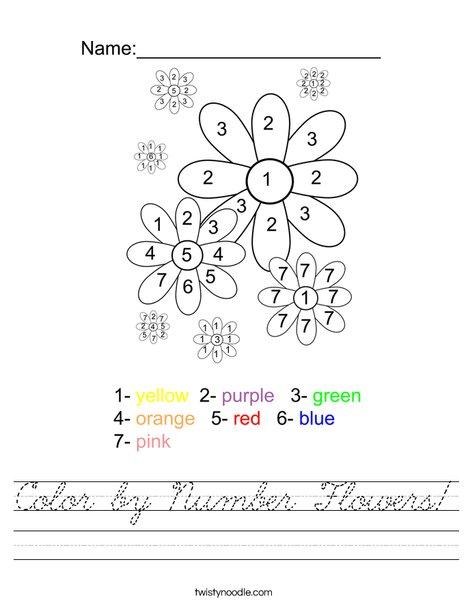 Color by Number Flowers Worksheet - Cursive - Twisty Noodle