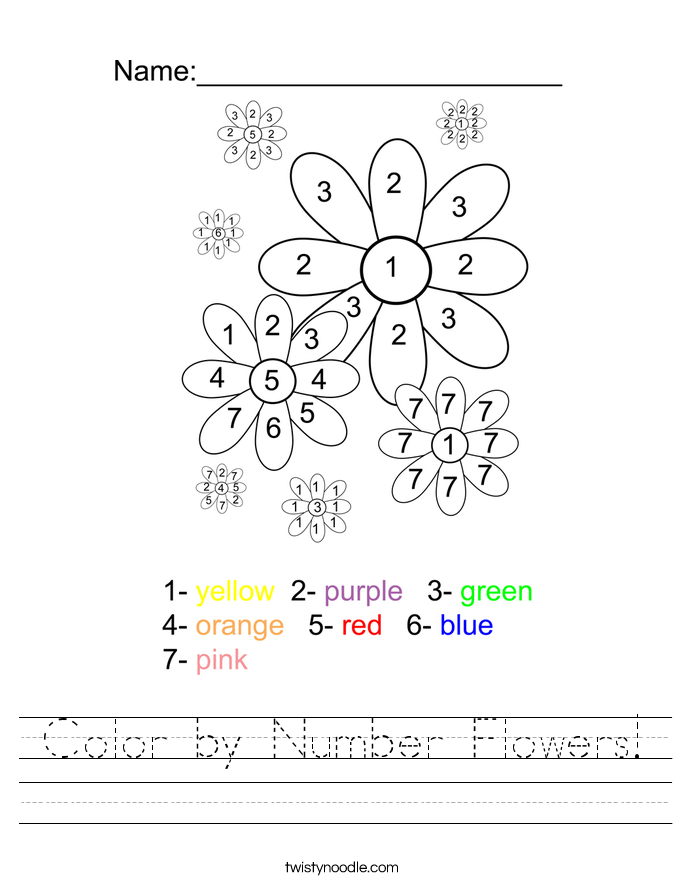 Color by Number Flowers! Worksheet