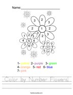 Color by Number Flowers Handwriting Sheet