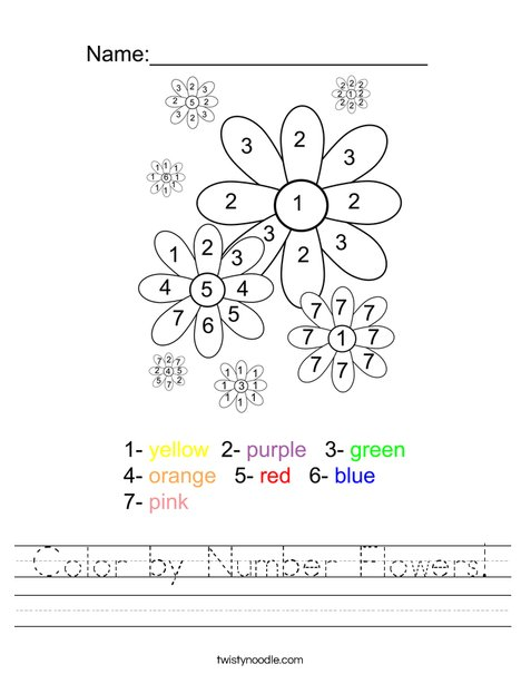 Color by Number Flowers Worksheet