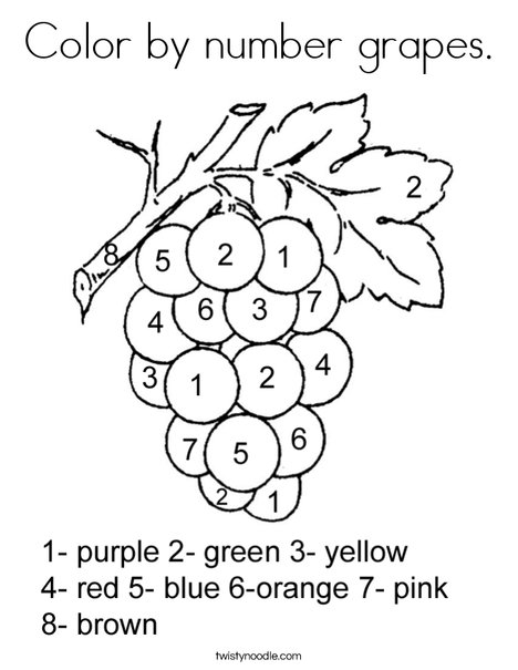 Color by number grapes Coloring Page Twisty Noodle