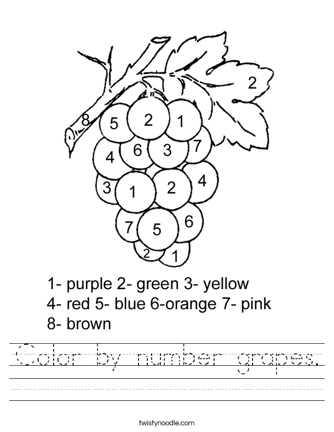 Color by number grapes. Worksheet