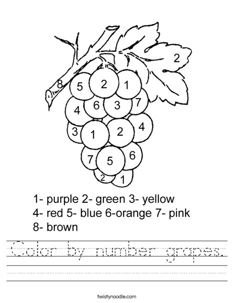 Color by Number Grapes Worksheet