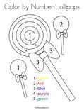Color by Number Lollipops Coloring Page