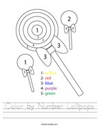 Color by Number Lollipops Handwriting Sheet