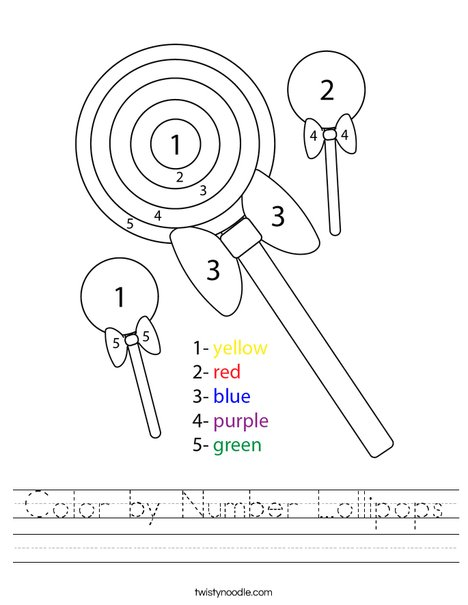 Color by Number Lollipops Worksheet
