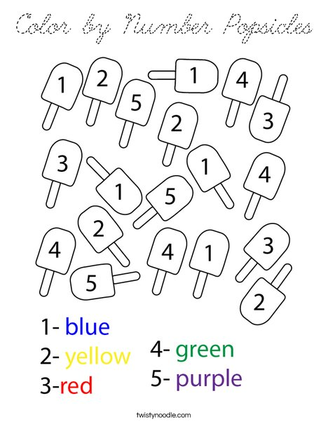 Color by Number Popsicles Coloring Page