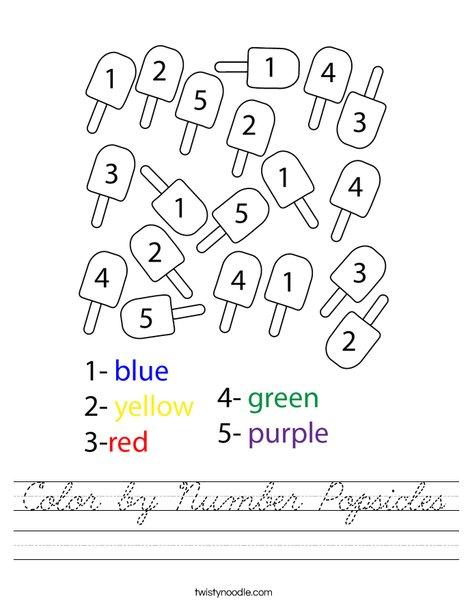 Color by Number Popsicles Worksheet