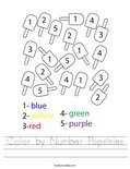 Color by Number Popsicles Worksheet