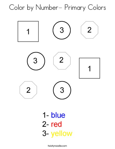 Color by Number- Primary Colors Coloring Page