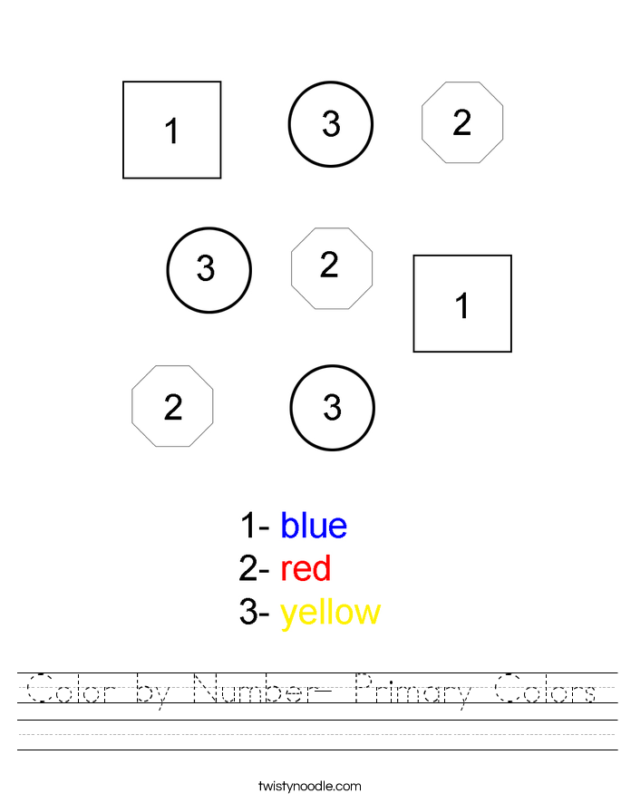 Color by Number- Primary Colors Worksheet.