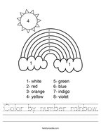 Color by number rainbow Handwriting Sheet