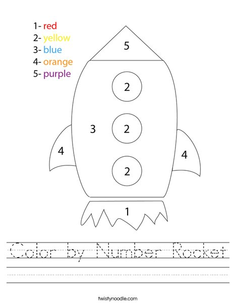 Color By Number Rocket Worksheet Twisty Noodle