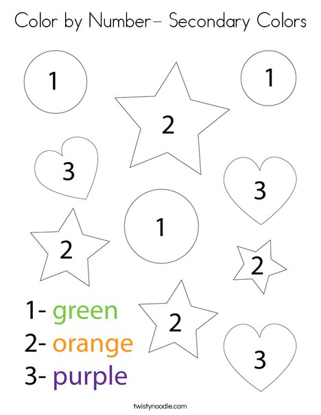 Color by Number- Secondary Colors Coloring Page