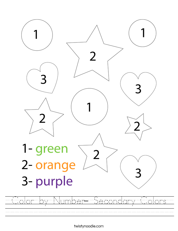 Color by Number- Secondary Colors Worksheet