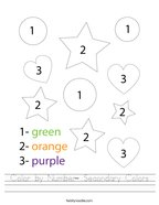 Color by Number- Secondary Colors Handwriting Sheet