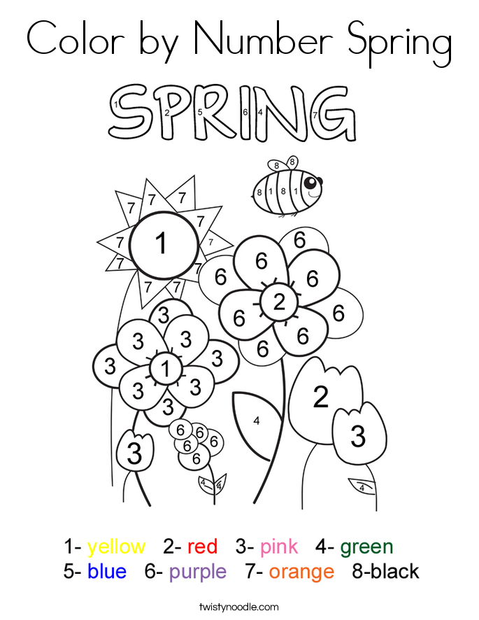 Free Coloring Pages For Preschoolers Spring : Color by number spring coloring page twisty noodle