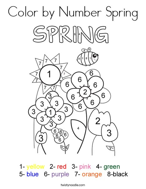 Color by Number Spring Coloring Page - Twisty Noodle