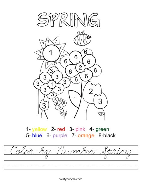 Color by Number Spring Worksheet - Cursive - Twisty Noodle