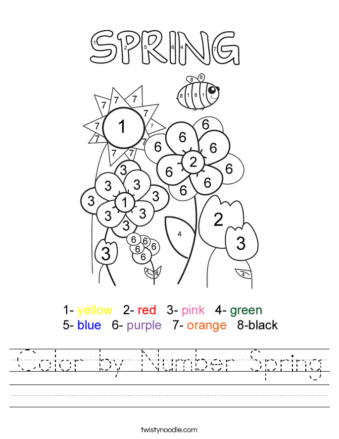 Color By Number Spring Worksheet Twisty Noodle