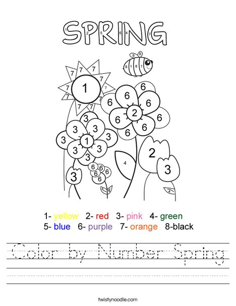 Color by Number Spring Worksheet