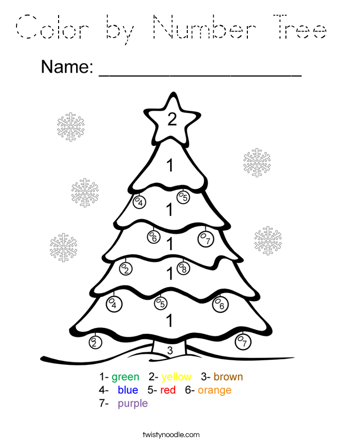 Color by Number Tree Coloring Page