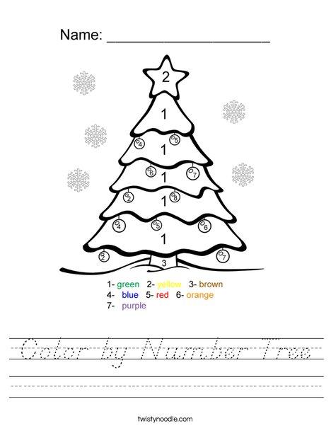 Color by Number Tree Worksheet
