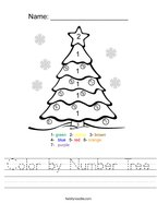 Color by Number Tree Handwriting Sheet