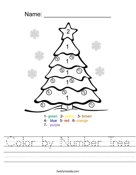 Color by Number Tree Worksheet