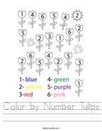 Color by Number Tulips Handwriting Sheet