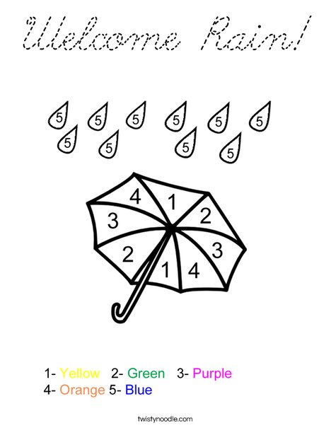 Color by Number Umbrella Coloring Page