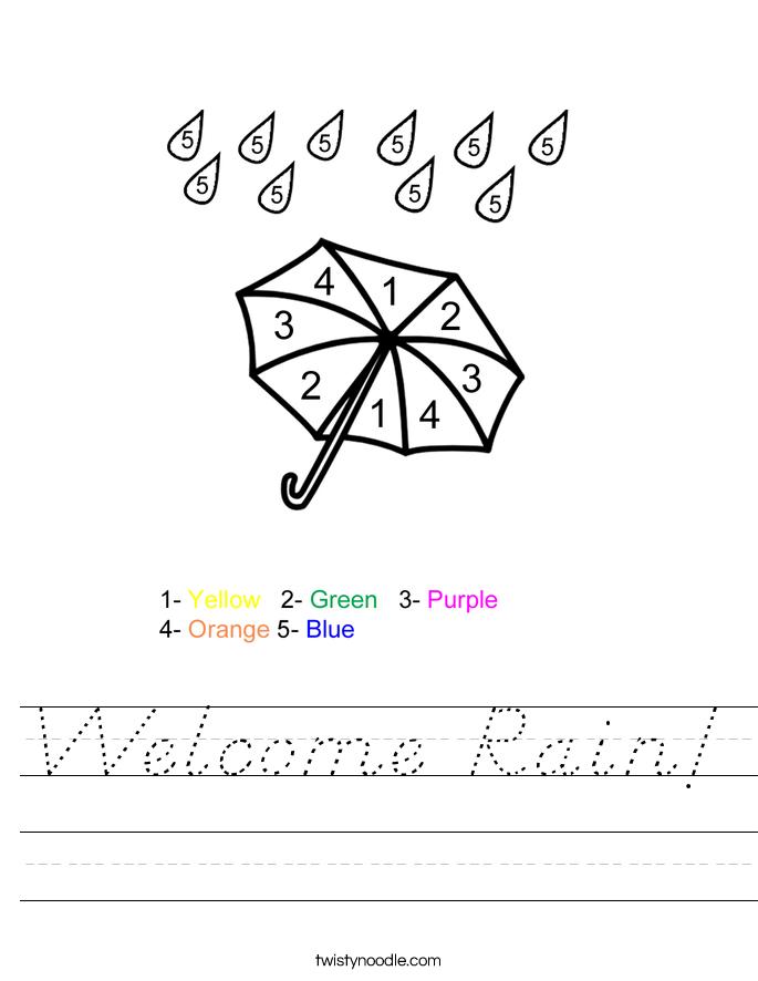Welcome Rain! Worksheet