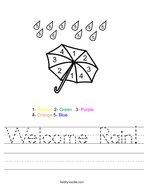 Welcome Rain Handwriting Sheet