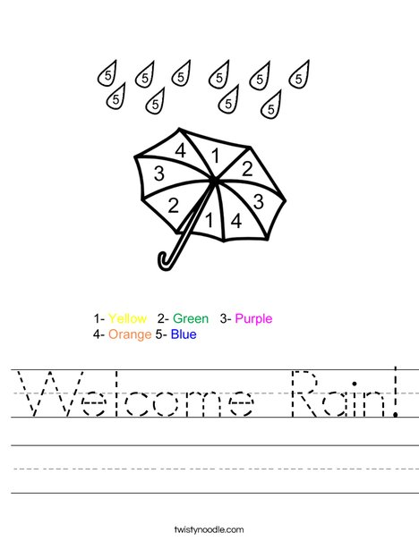 Color by Number Umbrella Worksheet