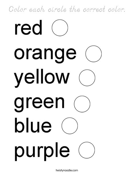 Color each circle the correct color. Coloring Page