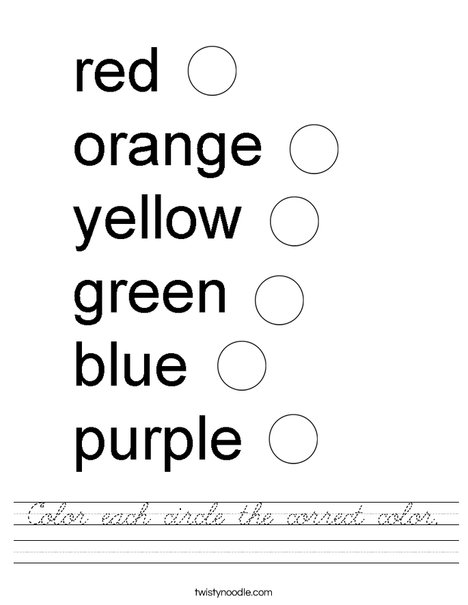 Color each circle the correct color. Worksheet