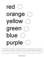 Color each circle the correct color Handwriting Sheet