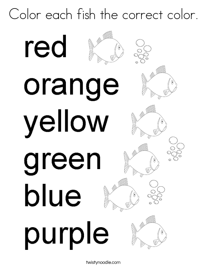 Color each fish the correct color. Coloring Page