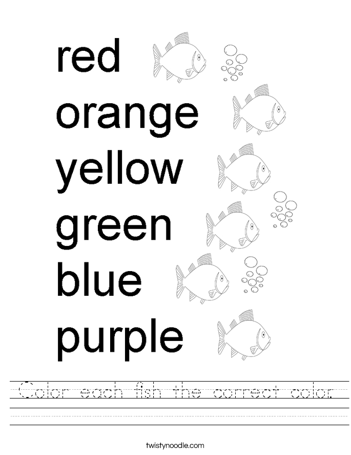 Color each fish the correct color. Worksheet
