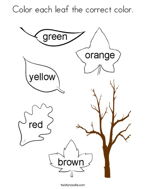 Color each leaf the correct color. Coloring Page