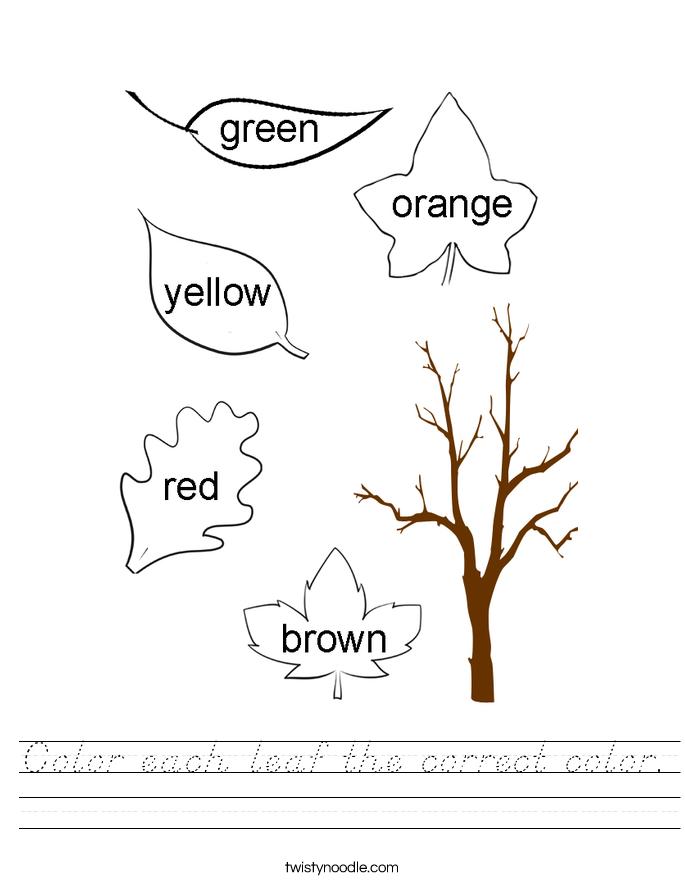 Color each leaf the correct color. Worksheet