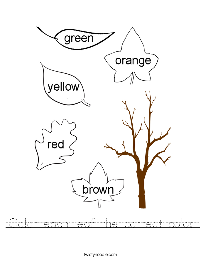 Color each leaf the correct color. Worksheet