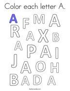 Color each letter A Coloring Page