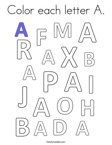 Color each letter A. Coloring Page