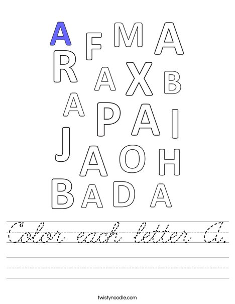 Color each letter A. Worksheet